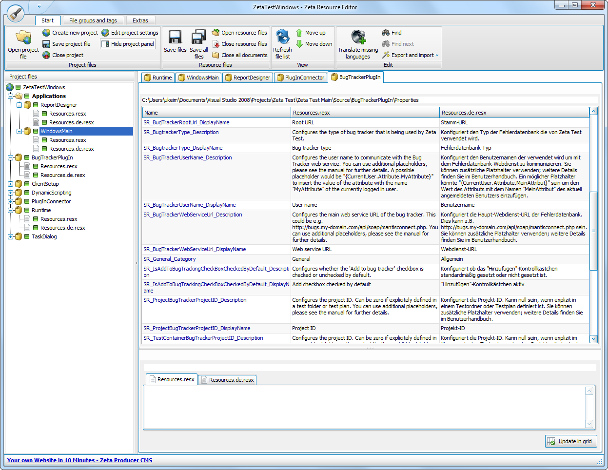 Screenshot vom Programm: Zeta Resource Editor